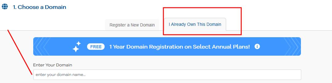 Create a website- enter a domain name