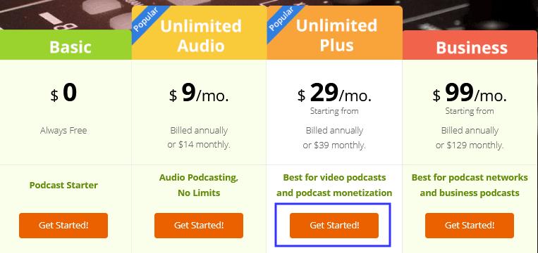 Podbean Hosting Plans & Pricing