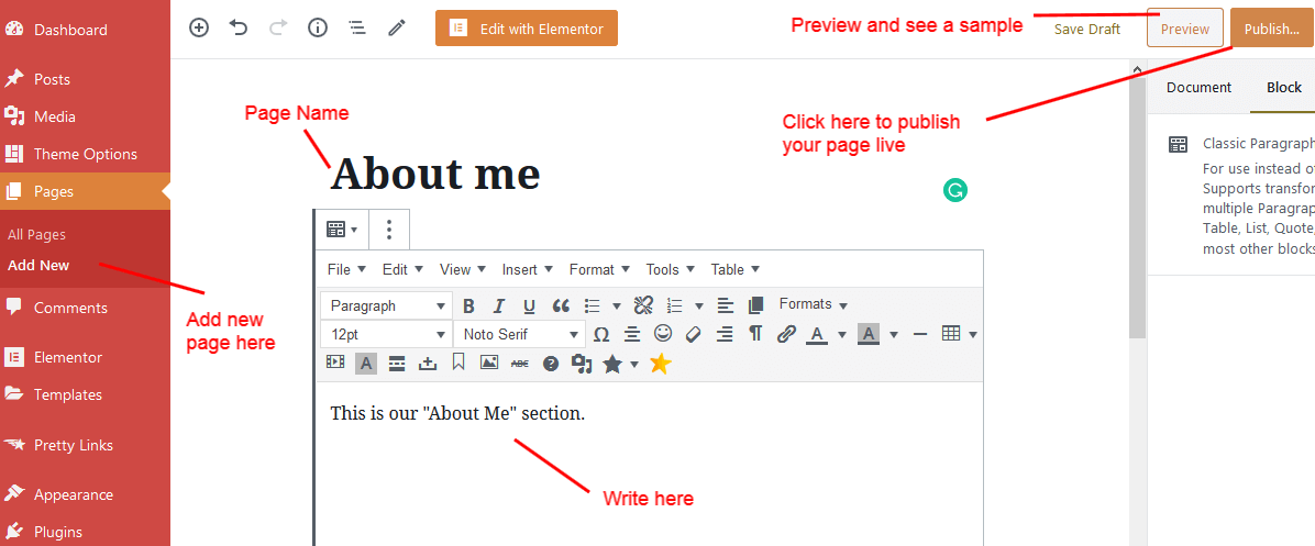 build a website-add a new page