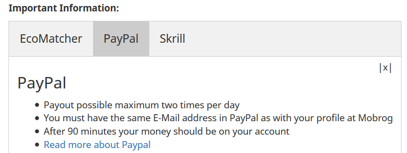 MOBROG Paypal payment proof