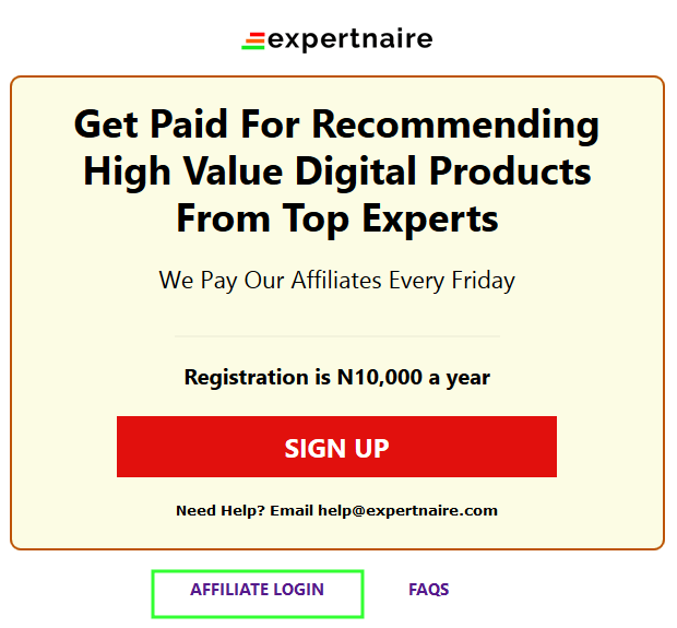 sign in to Expertnaire affiliate account