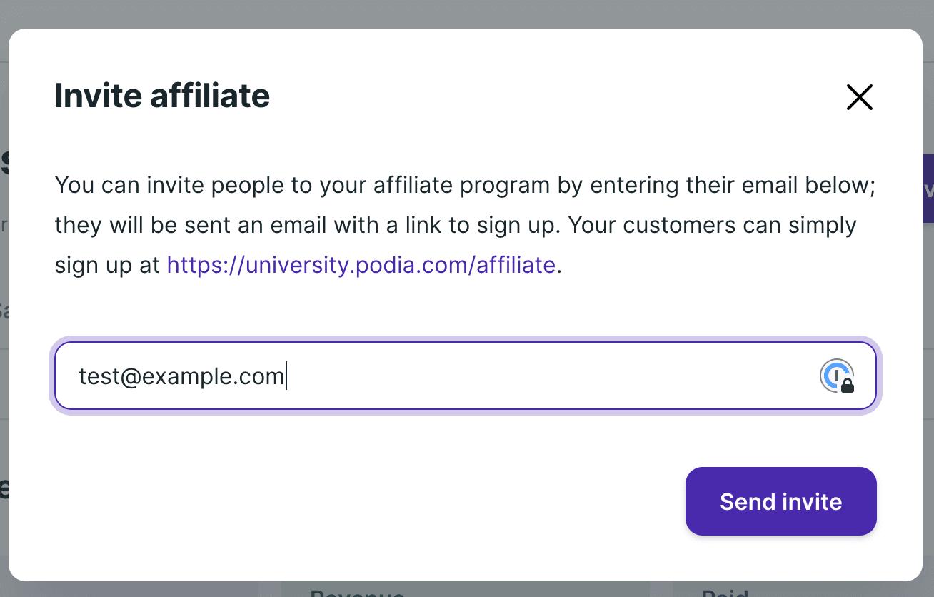 affiliate program on Podia